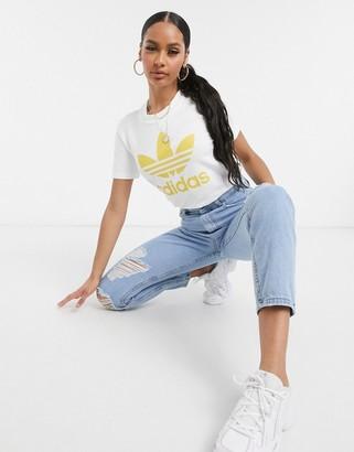 adidas Trefoil t-shirt in white & core yellow