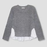 Franki & Jack Girls' Franki & Jack Woven Black Pullover Sweater - Black Swirl