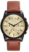 Armani Exchange Outerbanks Ion-Plated Stainless Steel Leather Strap Chronograph Watch