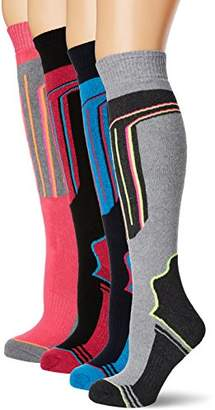 FM London 4-Pack Womens Thermal Ski Socks | Cushioned Arch Support Snowboard Socks with Full Terry (Size: 4-8 UK)