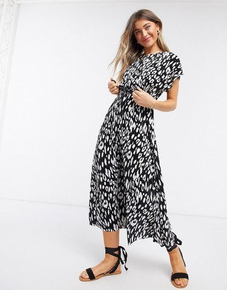 ASOS DESIGN plisse midi dress with cut out back and rope belt in mono animal print