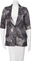 Elizabeth and James Printed Three-Quarter Sleeve Blazer