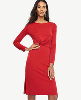 Ann Taylor Petite Draped Matte Jersey Sheath Dress
