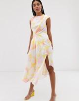 Asos DESIGN sleeveless drape midi dress in floral print