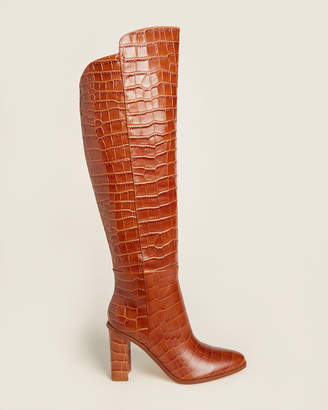 Marc Fisher Medium Brown Unella Croc Knee-High Leather Boots
