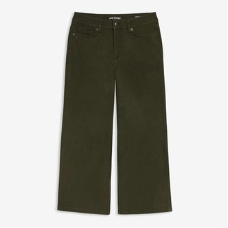 Joe Fresh Women's Crop Wide Leg Jeans, Dark Olive (Size 31)