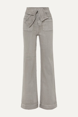 Ulla Johnson Wade Belted High-rise Wide-leg Jeans - Gray