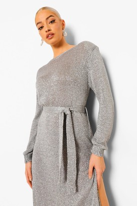 boohoo Glitter Shoulder Pad Knitted Maxi Dress