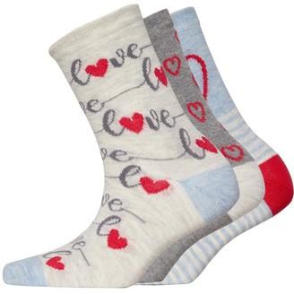 Lovestruck Womens Three Pack Socks Pale Grey