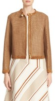 Lafayette 148 New York Women's Makena Suede Trim Raffia Weave Jacket
