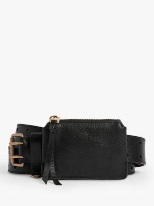 AllSaints Emma Detachable Pouch Leather Belt, Black