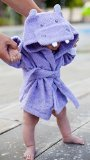 Baby Steps BabySteps Baby-Steps, Purple Hippo Hooded Bathrobe and Towel, 0-9 Months, Bath Robe Baby Shower Gift. Free Gift Box with Purchase!