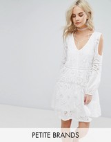 Boohoo Petite Embroidered V-Neck Dress