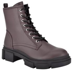 Nine West Women's Medium Arde Lace-Up Lug Sole Combat Booties Women's Shoes