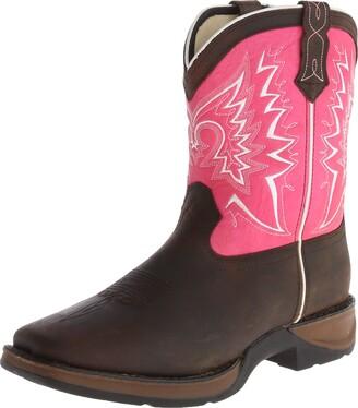 Durango Unisex DWBT094 Western Boot Brown/Pink 3.5 M US Big Kid