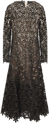 Oscar de la Renta Sequin-embellished Metallic Guipure Lace And Mesh Midi Dress