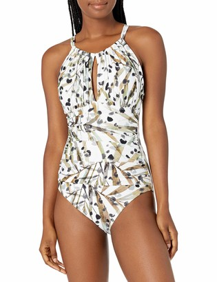 Kenneth Cole New York Women's High Neck Keyhole Cross Back Mio One Piece Swimsuit