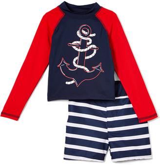 Sweet & Soft Boys' Board Shorts Navy - Navy & Red Stripe Anchor Long-Sleeve Rashguard Set - Infant & Toddler