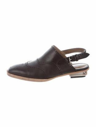 Hermes Ghillies Leather Slingback Flats Black