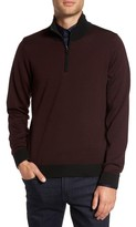 Pal Zileri Men's Wool Quarter Zip Mock Neck Sweater
