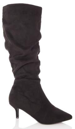 Dorothy Perkins Womens *Quiz Black Faux Suede Ruched Boots, Black