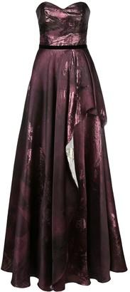 Marchesa Metallic Draped Evening Dress