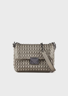 Emporio Armani Cross Body Bag In Quilted Faux Nappa Leather With Teardrop Motif