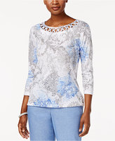 Alfred Dunner Long Weekend Printed Lattice-Trim Top