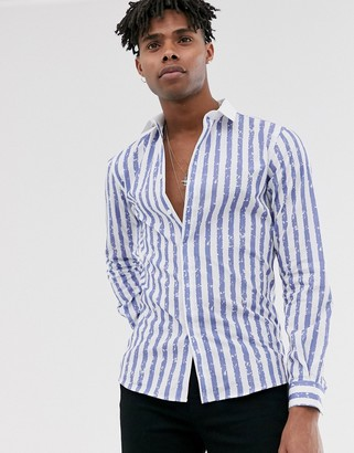 Twisted Tailor super skinny fit shirt in textured stripe-Blue