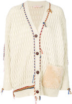 Tory Burch plaited trim cardigan with fur pocket