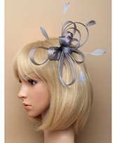Inca Silver Fascinator on Headband/ Clear Comb for Weddings, Races and Occasions by Jewellery
