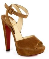 Christian Louboutin Loulou Dancing Suede Platform Ankle-Strap Sandals
