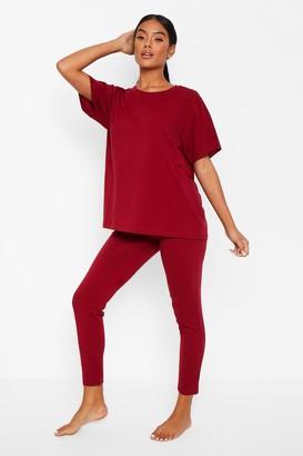 boohoo Basic T-shirt and Legging Soft Jersey PJ Set
