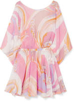 Emilio Pucci Printed Seersucker Mini Dress - Pastel pink