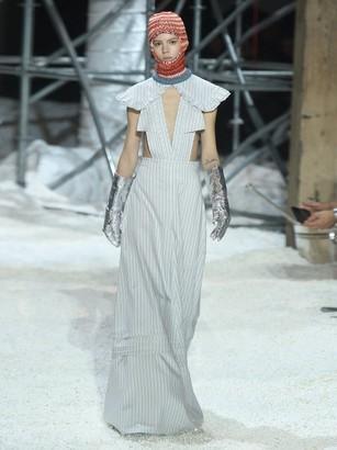 Calvin Klein - Ruffled Striped Silk-blend Gown - Light Blue