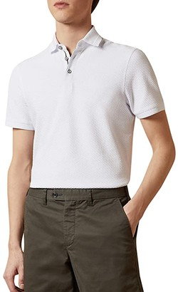 Ted Baker Infuse Short Sleeve Textured Polo (White) Men's Clothing