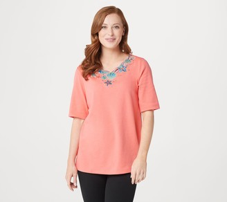 Quacker Factory Embroidered Summertime Cutout Knit Top