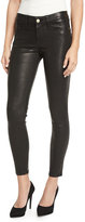 Frame Le Skinny Leather Pants, Washed Black