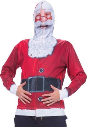Faux Real Men's Santa Mask Full Face Zip up Printed Hoodie