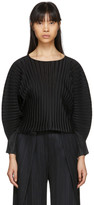 Pleats Please Issey Miyake Black Rib Pleats Wide Sleeve Pullover
