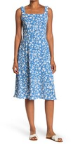 Thumbnail for your product : Sandra Darren Floral Print Square Neck Midi Dress