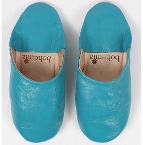 Bohemia Moroccan Babouche Aqua Basic Slippers - Small - Teal