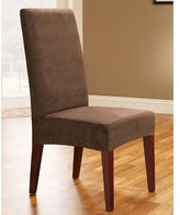 Sure Fit Soft Suede - Shorty Dining Room Chair Slipcover - Chocolate (SF36672)