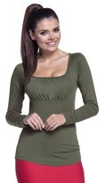 Zeta Ville Fashion Zeta Ville - Womens Stretch Top Empire Waist Long Sleeves Square Neck - 360z (