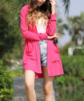Z Avenue Women's Cardigans Bright - Bright Pink Side-Pocket Open Hooded Cardigan - Women & Plus