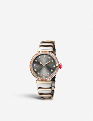 Bvlgari Lvcea 18ct pink-gold, stainless steel and diamond watch