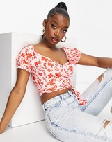Thumbnail for your product : Parisian tie waist crop top in shadow floral