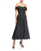Shoshanna Meraki Off-the-Shoulder Sheer Polka-Dot Tulle Dress