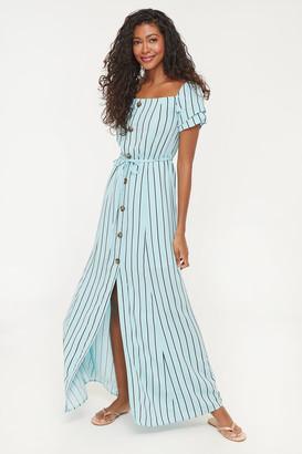 Ardene Maxi Buttoned Striped Dress