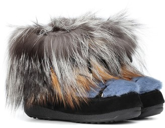 Yves Salomon Army x Moon Boot mink fur ankle boots